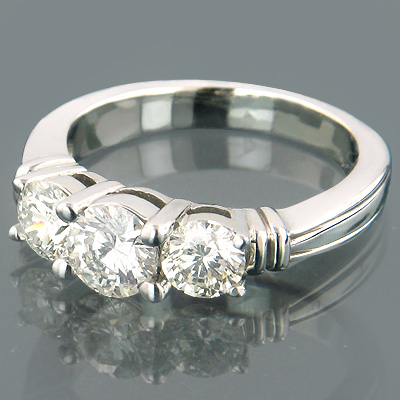 14K Gold Three Stone Diamond Engagement Ring 1.25ct