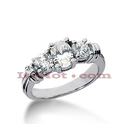 14K Gold Three Stone Diamond Engagement Ring 1.45ct