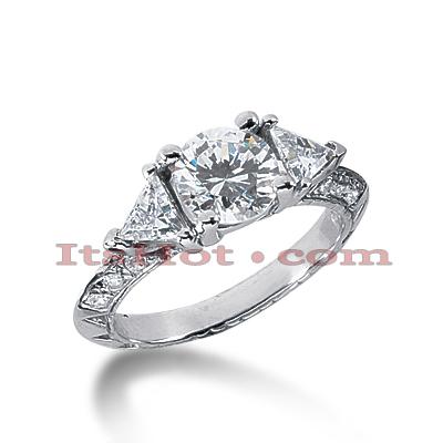 14K Gold Three Stone Diamond Engagement Ring 1.58ct