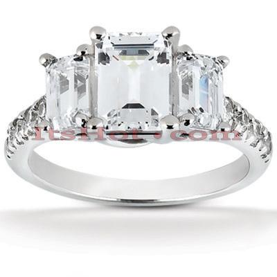 14K Gold Three Stone Diamond Engagement Ring 1.91ct