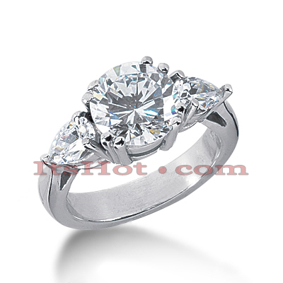 14K Gold Three Stone Diamond Engagement Ring 2.75ct