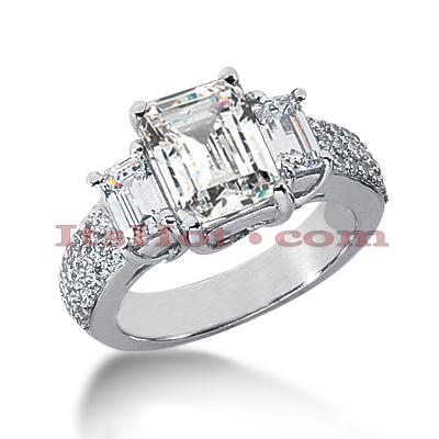 14K Gold Three Stone Diamond Engagement Ring 3.94ct