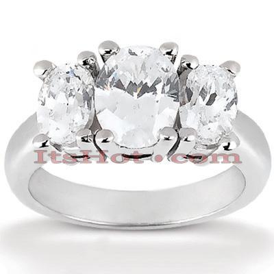 Thin 14K Gold Three Stones Diamond Engagement Ring 1ct