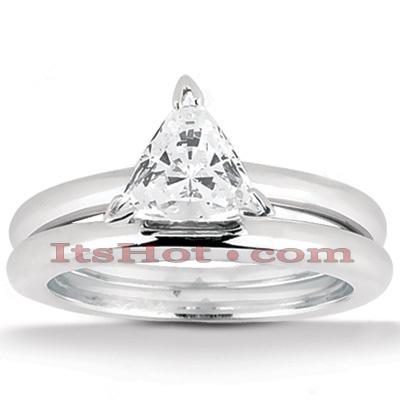14K Gold Trillion Cut Engagement Ring Set 0.50ct