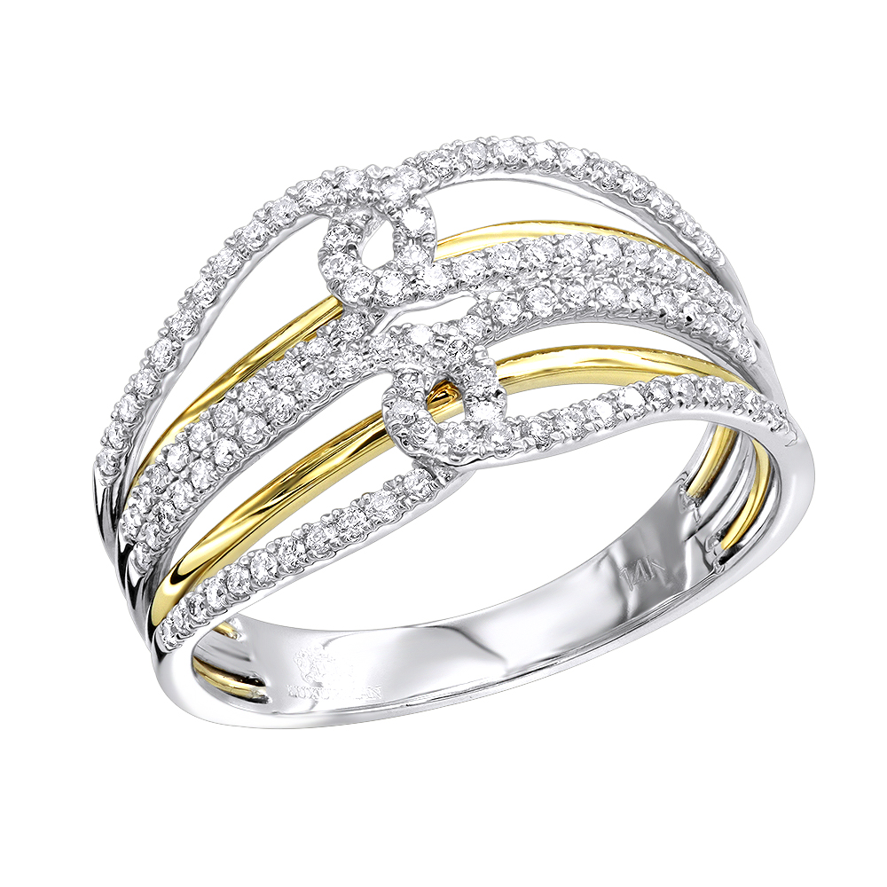 14K Gold Two Tone Diamond Cocktail Ring for Women 0.4ct by Luxurman
