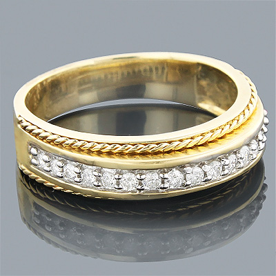 Thin 14K Gold two tone Gold Womens Diamond Ring Band 0.33ct