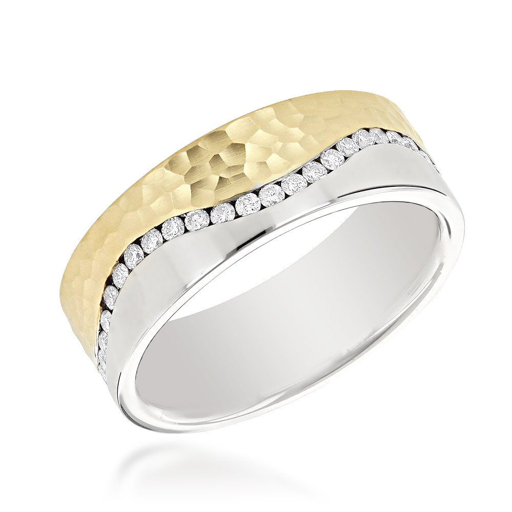 14K Gold Two Tone Mens Diamond Eternity Band Designer Ring by Luxurman