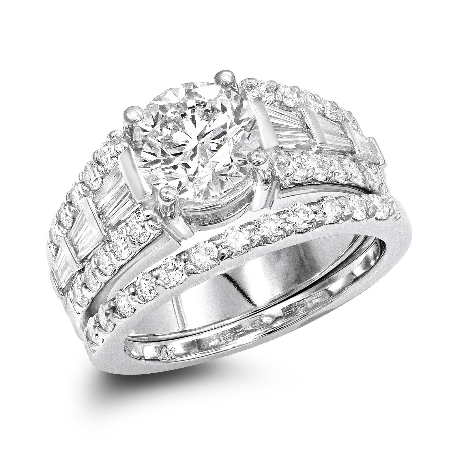 14K Gold Unique Designer G/VS Diamond Engagement Ring Set 3.75ct by Luxurman