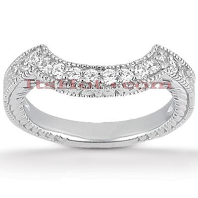 Thin 14K Gold Unique Diamond Engagement Band 0.20ct