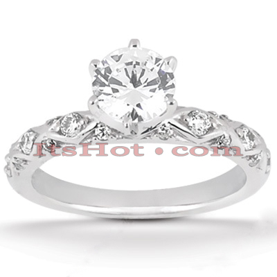 14K Gold Unique Diamond Engagement Ring 0.62ct