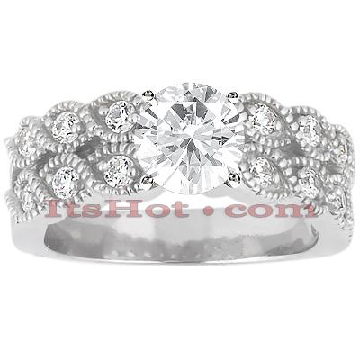 14K Gold Unique Diamond Engagement Ring 0.74ct
