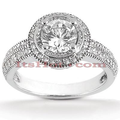 14K Gold Unique Diamond Engagement Ring 0.76ct