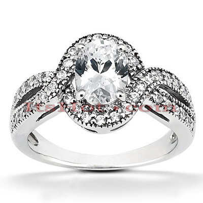 14K Gold Unique Diamond Engagement Ring 0.80ct
