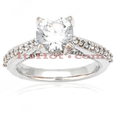 14K Gold Unique Diamond Engagement Ring 0.81ct