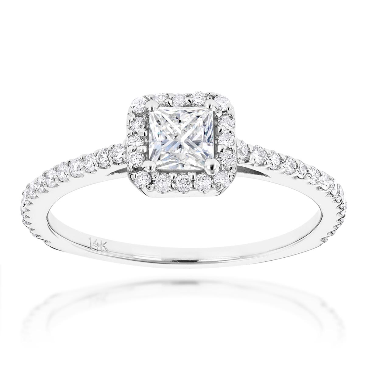 14K Gold Unique Diamond Engagement Ring 0.88ct Princess & Round Diamonds