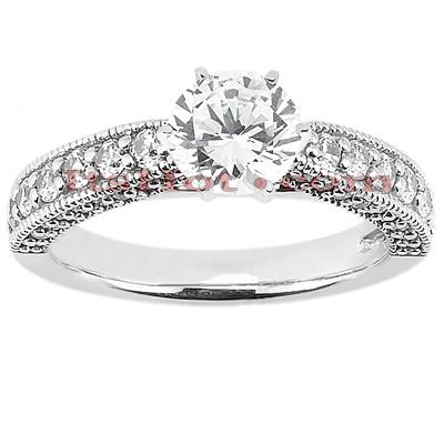 14K Gold Unique Diamond Engagement Ring 0.88ct