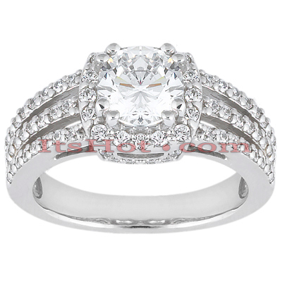 14K Gold Unique Diamond Engagement Ring 0.92ct