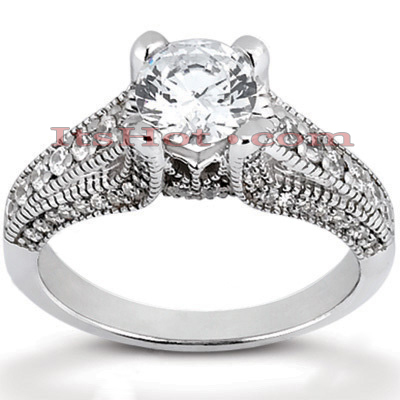 14K Gold Unique Diamond Engagement Ring 0.97ct