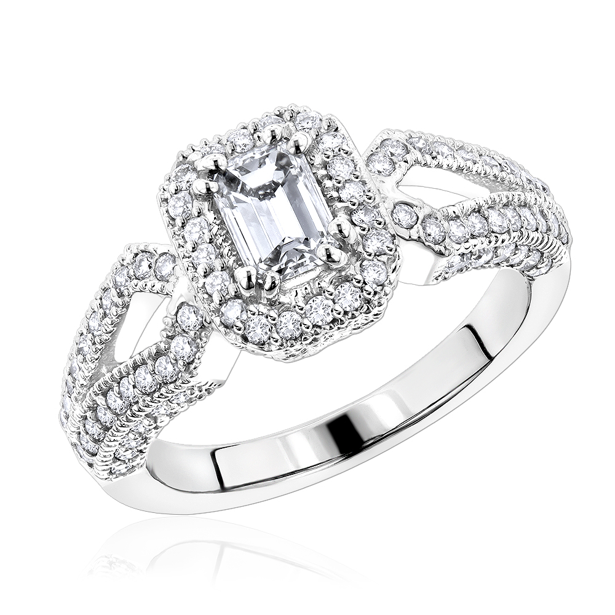 14K Gold Unique Diamond Engagement Ring 1.05ct