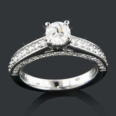 14K Gold Unique Diamond Engagement Ring 1.10ct