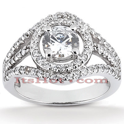 14K Gold Unique Diamond Engagement Ring 1.20ct
