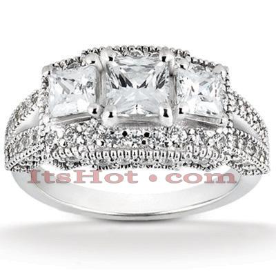 14K Gold Unique Diamond Engagement Ring 1.27ct