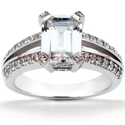 14K Gold Unique Diamond Engagement Ring 1.42ct