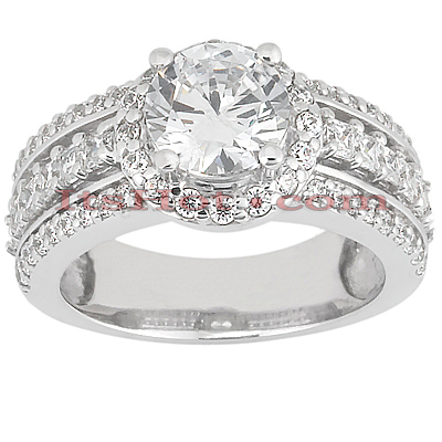 14K Gold Unique Diamond Engagement Ring 1.44ct