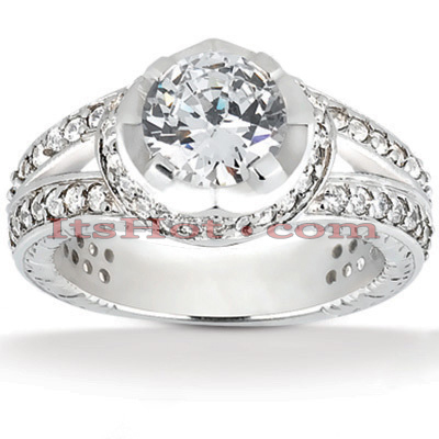 14K Gold Unique Diamond Engagement Ring 1.63ct