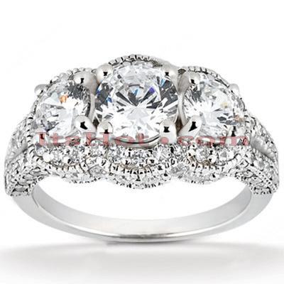 14K Gold Unique Diamond Engagement Ring 1.74ct