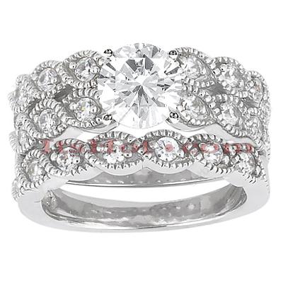 14K Gold Unique Diamond Engagement Ring Set 0.38ct