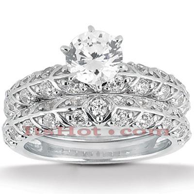 14K Gold Unique Diamond Engagement Ring Set 0.41ct
