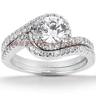 14K Gold Unique Diamond Engagement Ring Set 0.44ct