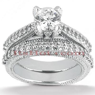 14K Gold Unique Diamond Engagement Ring Set 0.46ct
