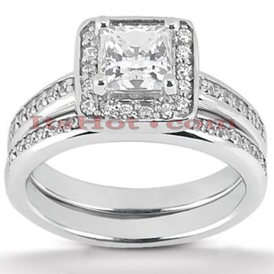 14K Gold Unique Diamond Engagement Ring Set 0.47ct