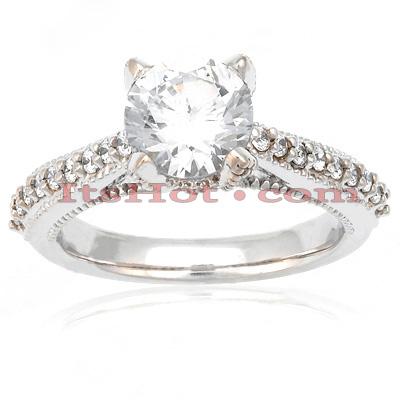 14K Gold Unique Diamond Engagement Ring Set 0.59ct