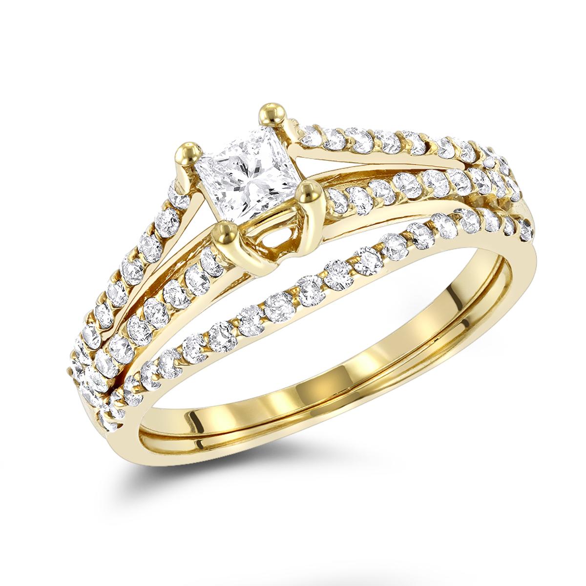 14K Gold Unique Diamond Engagement Ring Set 0.61ct
