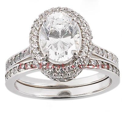 14K Gold Unique Diamond Engagement Ring Set 0.68ct