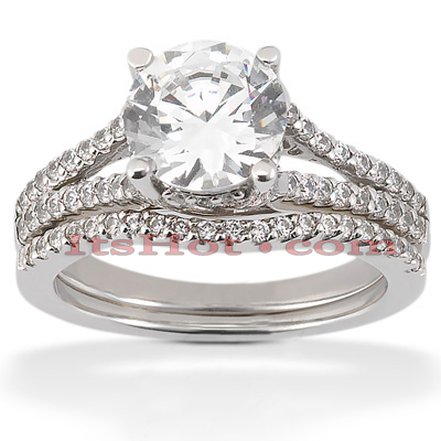 14K Gold Unique Diamond Engagement Ring Set 0.84ct