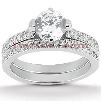 14K Gold Unique Diamond Engagement Ring Set 0.95ct