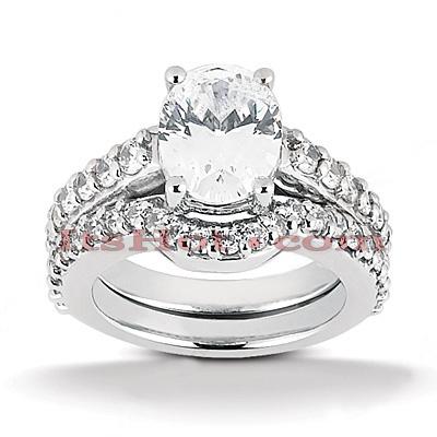 14K Gold Unique Diamond Engagement Ring Set 1.04ct