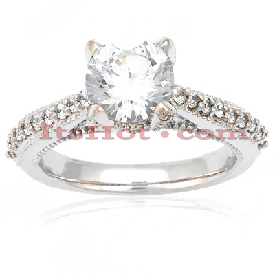 14K Gold Unique Diamond Engagement Ring Set 1.09ct