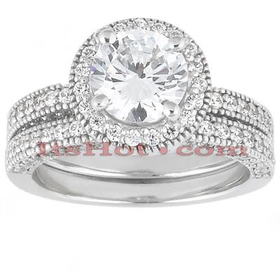 14K Gold Unique Diamond Engagement Ring Set 1.13ct