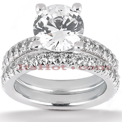 14K Gold Unique Diamond Engagement Ring Set 2.15ct