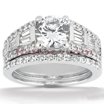 14K Gold Unique Diamond Engagement Ring Set 2.87ct