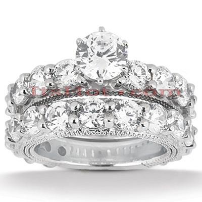 14K Gold Unique Diamond Engagement Ring Set 3.67ct