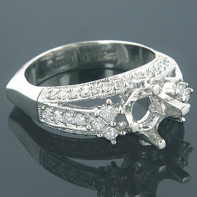 14K Gold Unique Diamond Engagement Ring Setting 0.90ct