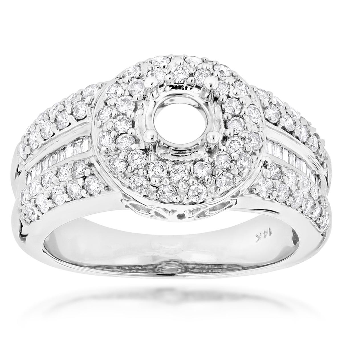 14K Gold Unique Diamond Engagement Ring Setting 1.25ct