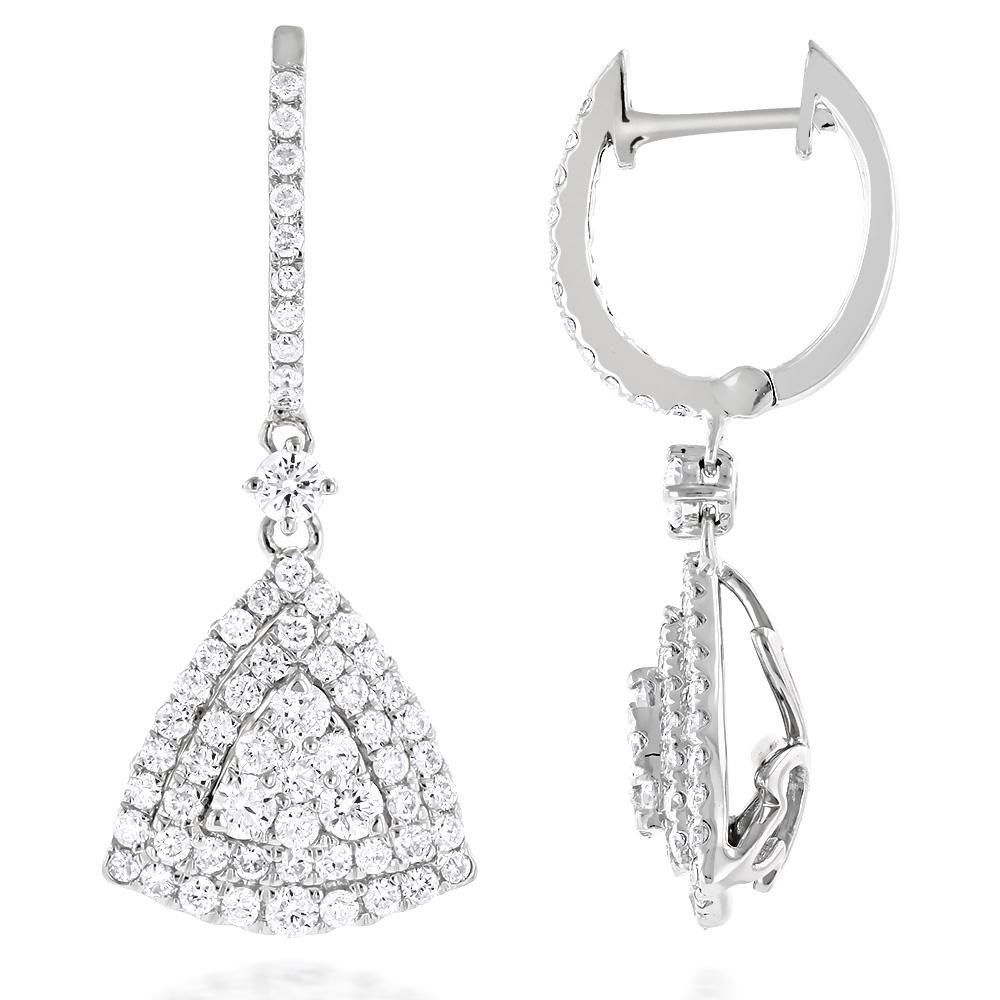 14K Gold Unique Trillion Shape Diamond Cluster Earrings for Women 1.75ct