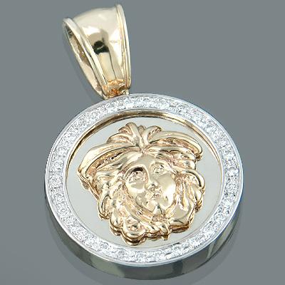14K Gold Unisex Diamond Versace Style Pendant 0.60ct Medusa Medallion